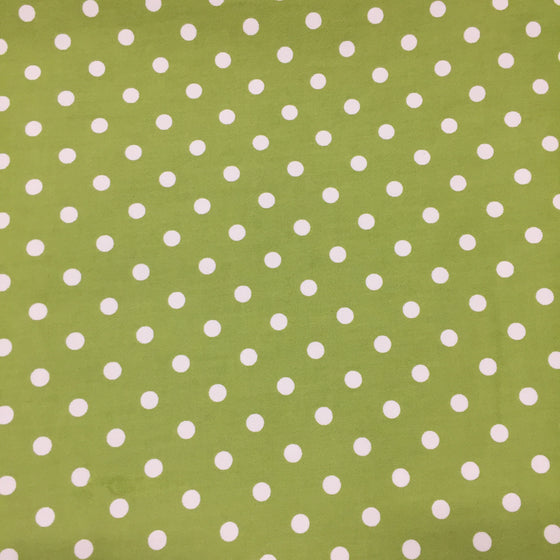 Lime/Cream Polka Dot Stretch Twill -