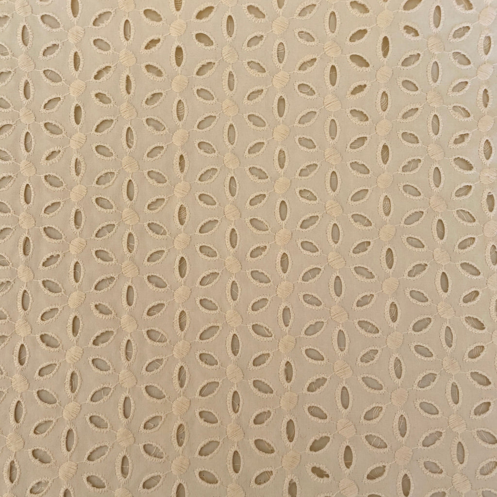 Embroidered Natural Woven Eyelet Fabric