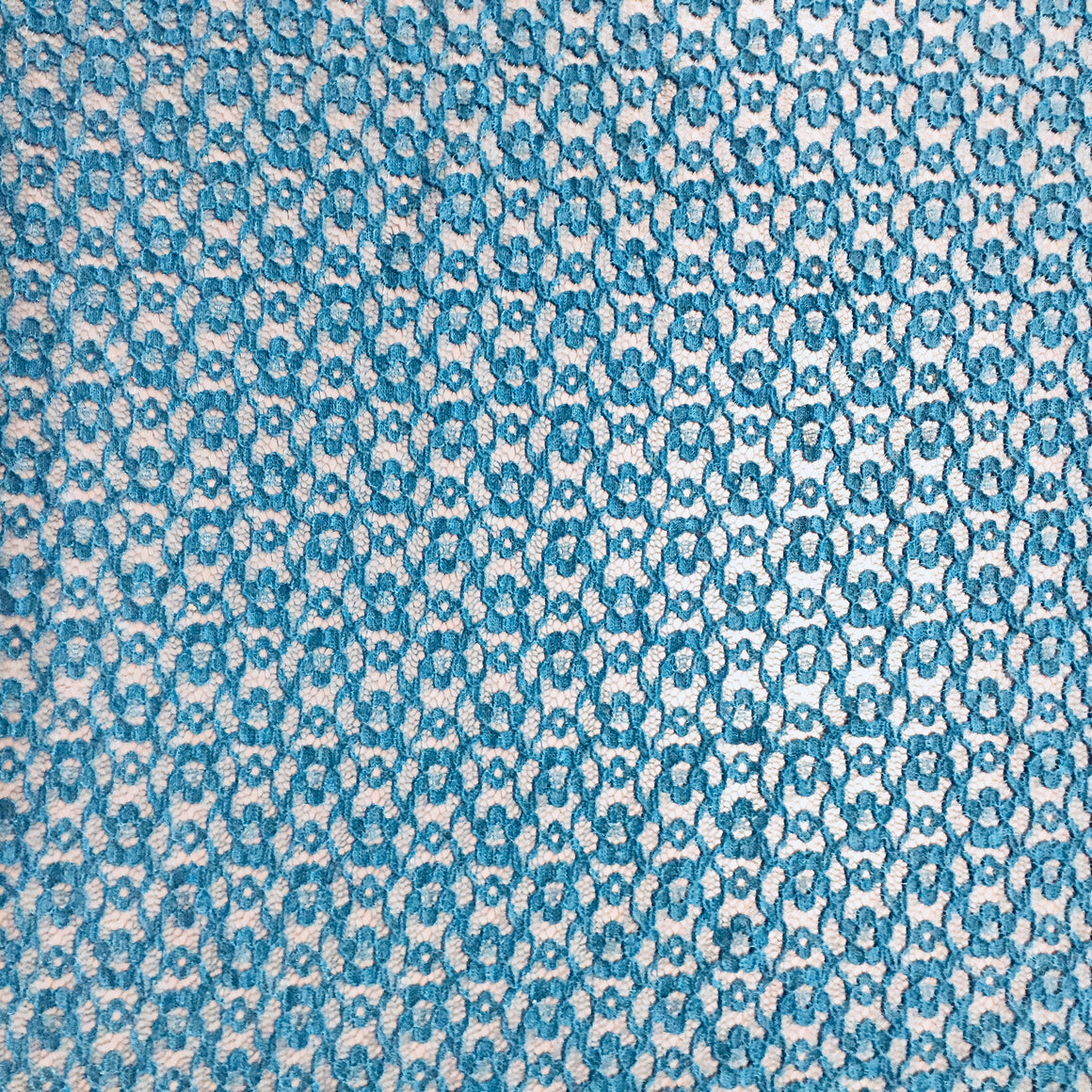 "Teal Floral Lace - 60"" wide"