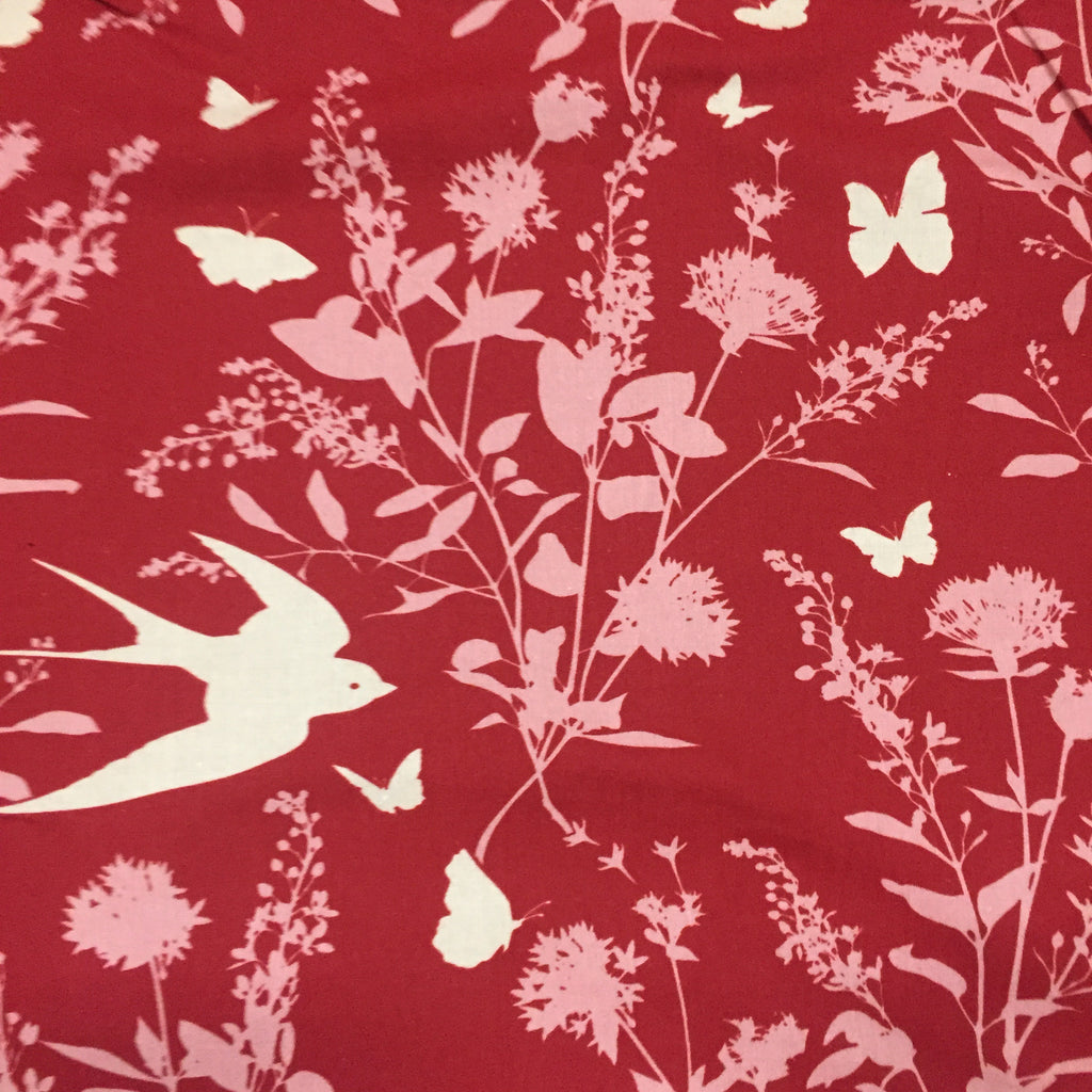 Persnickety Bird Floral Red - Poplin