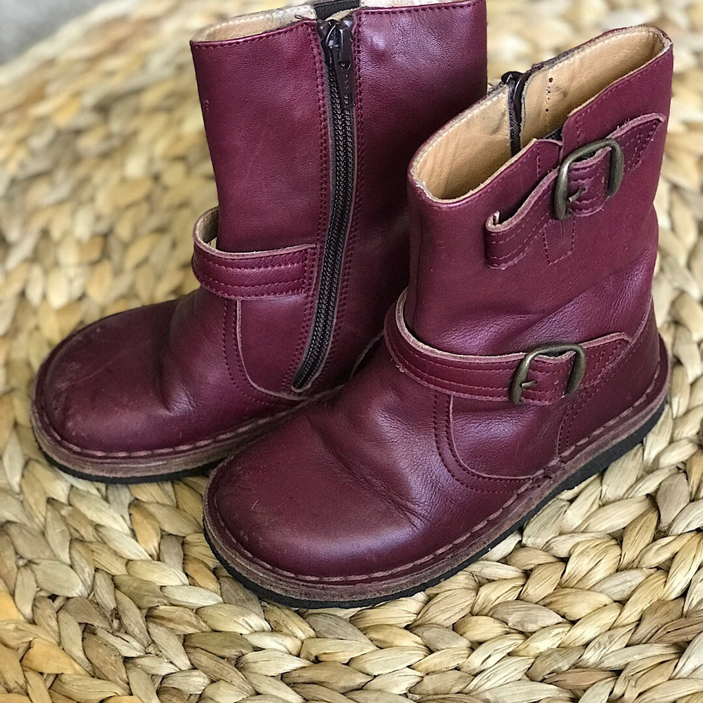Pepe Leather Boot - Maroon - size 9 #17