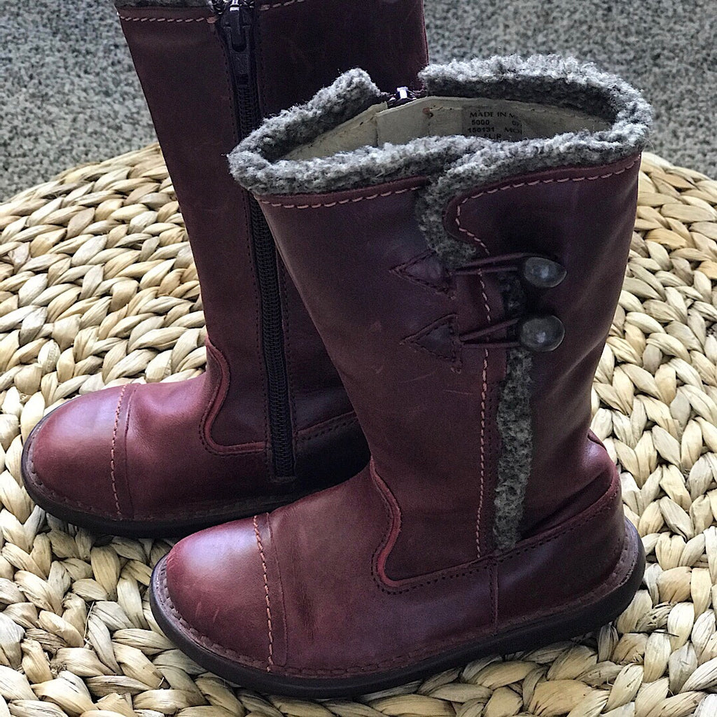 Kickers Leather Boots - Maroon - size 9 # 31