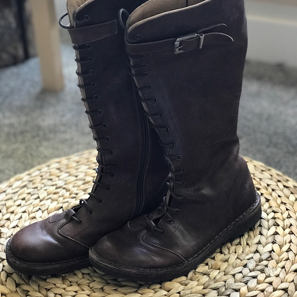 Pepe Leather Tall Lace-up Riding Boot- Brown - size 7 #34