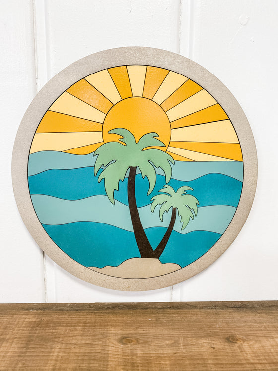 DIY Wall Art Kit | Sunshine w Palm Trees | Circle