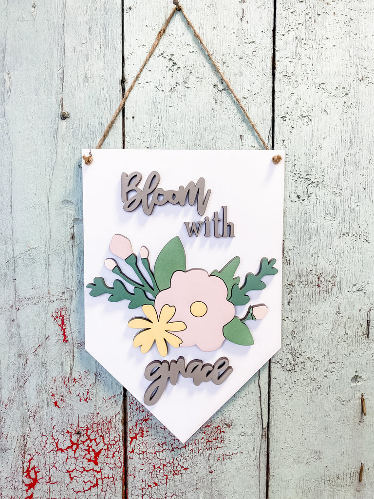 DIY Wall Art Kit | Flower Pennant | Bloom with Grace