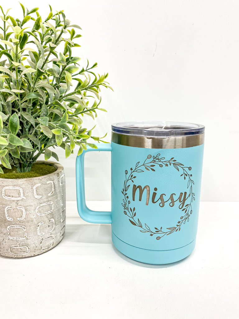 Drinkware | Name or initial inside wreath |
