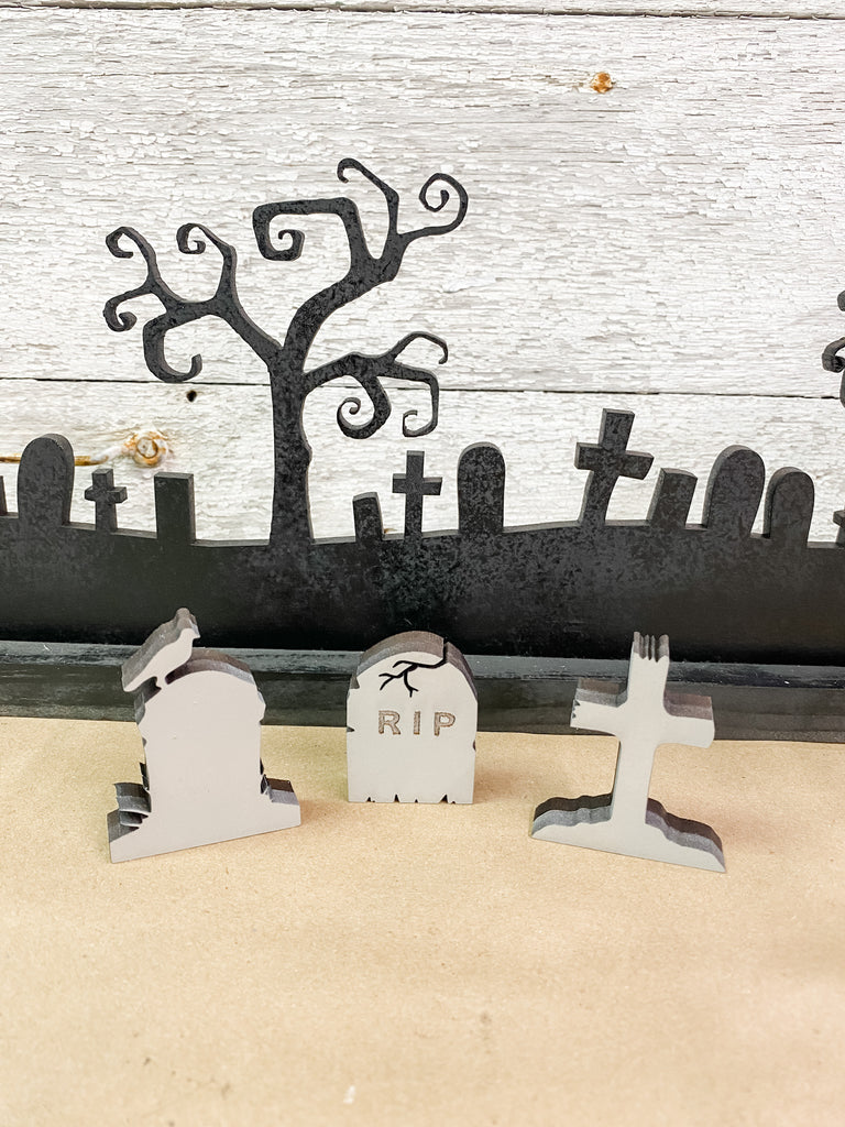 Halloween DIY Kits| 4 piece Cemetery set-Unfinished