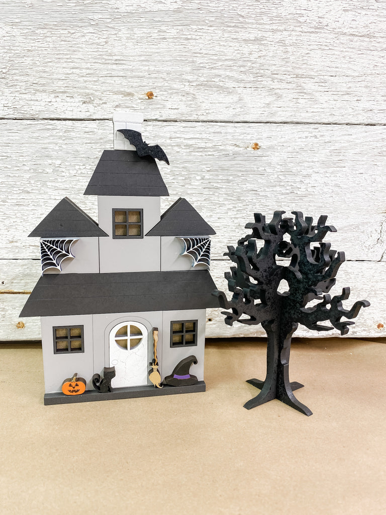 Halloween DIY Kits| House 3 w Tree-Unfinished