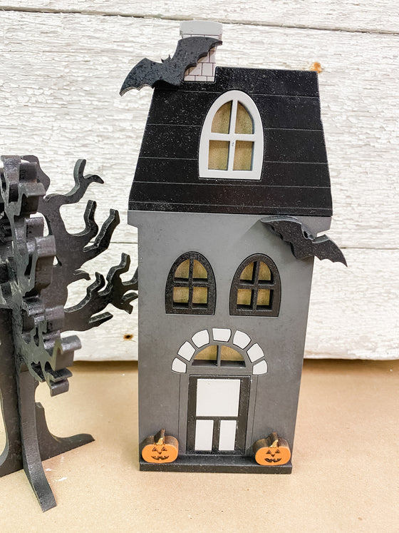 Halloween DIY Kits| House 1 w Tree-Unfinished