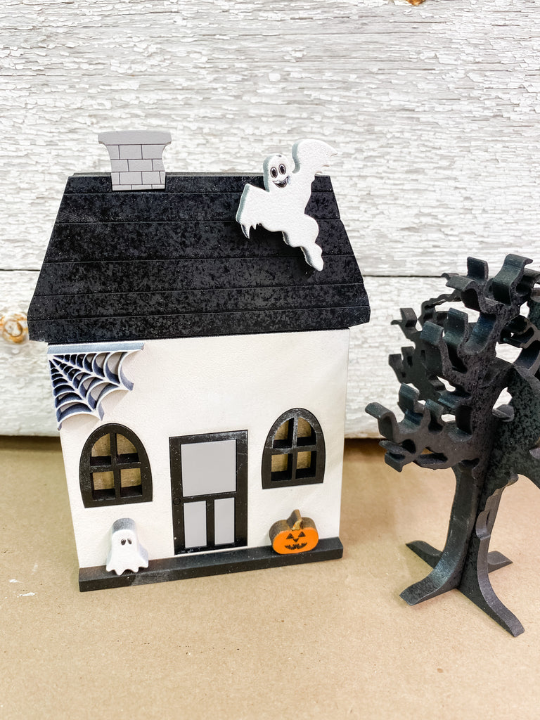 Halloween DIY Kits| House 2 w Tree-Unfinished
