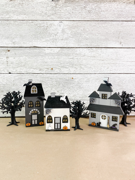 Halloween DIY Kits|3 House Set w 3 Trees - Unfinished
