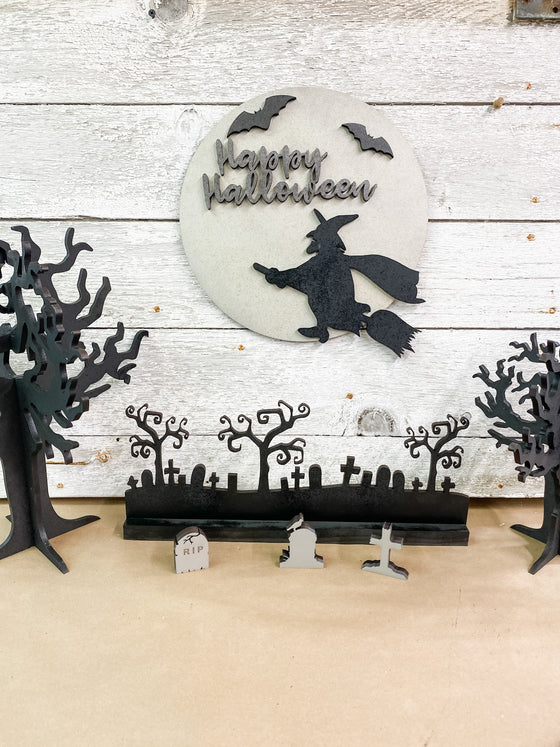 Halloween DIY Kits | Round witch Sign-Unfinished