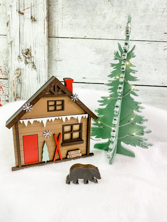 Christmas DIY Kits| Cabin w Tree-Unfinished