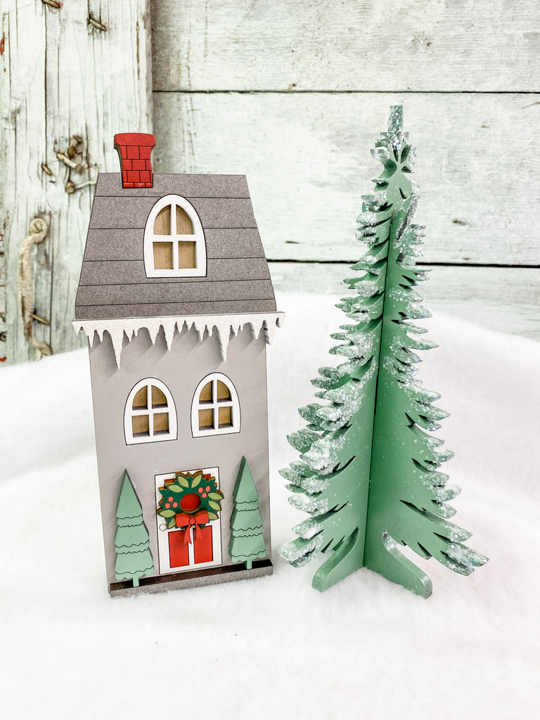Christmas DIY Kits| House 1 w Tree-Unfinished