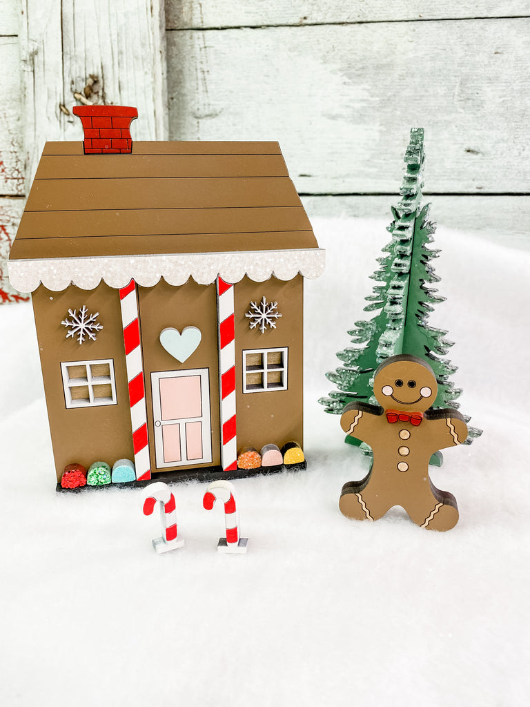 Christmas DIY Kits| Gingerbread House w Tree-Unfinished