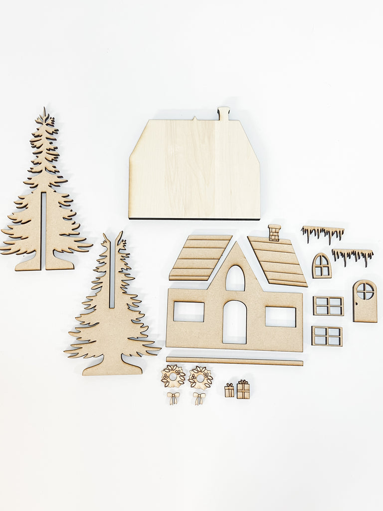 Christmas DIY Kits| House 2 w Tree-Unfinished