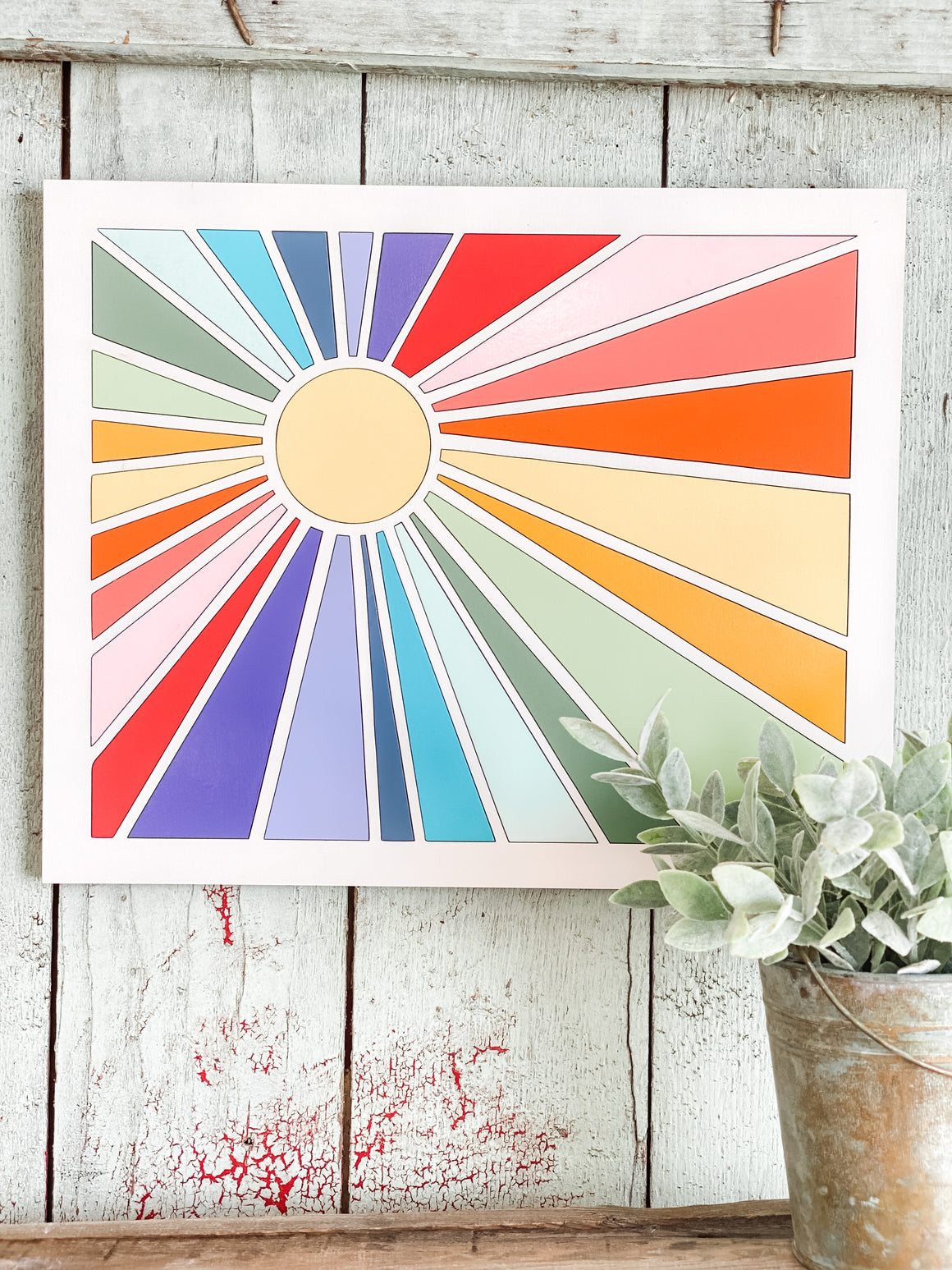DIY Wall Art Kit | Sunburst w Framed Edge