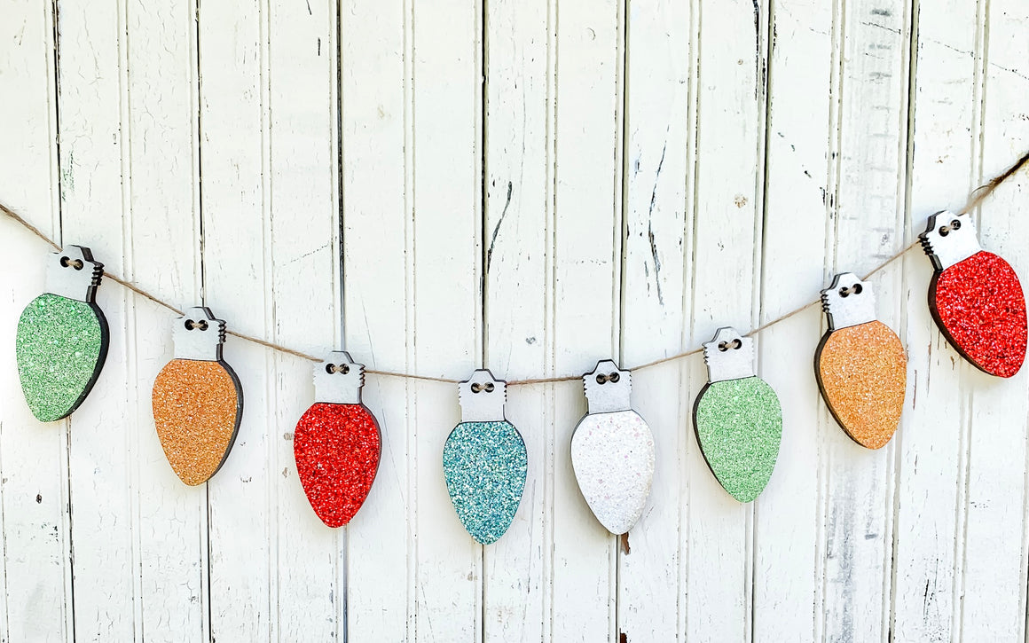 DIY Wood Banner Kit | Christmas Light Bulb banner