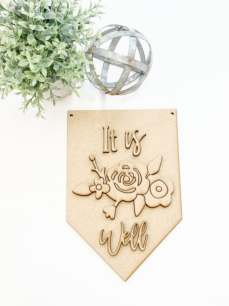DIY Wall Art Kit | Flower Pennant | It is Well.