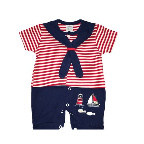 Red & Blue Sailor Romper