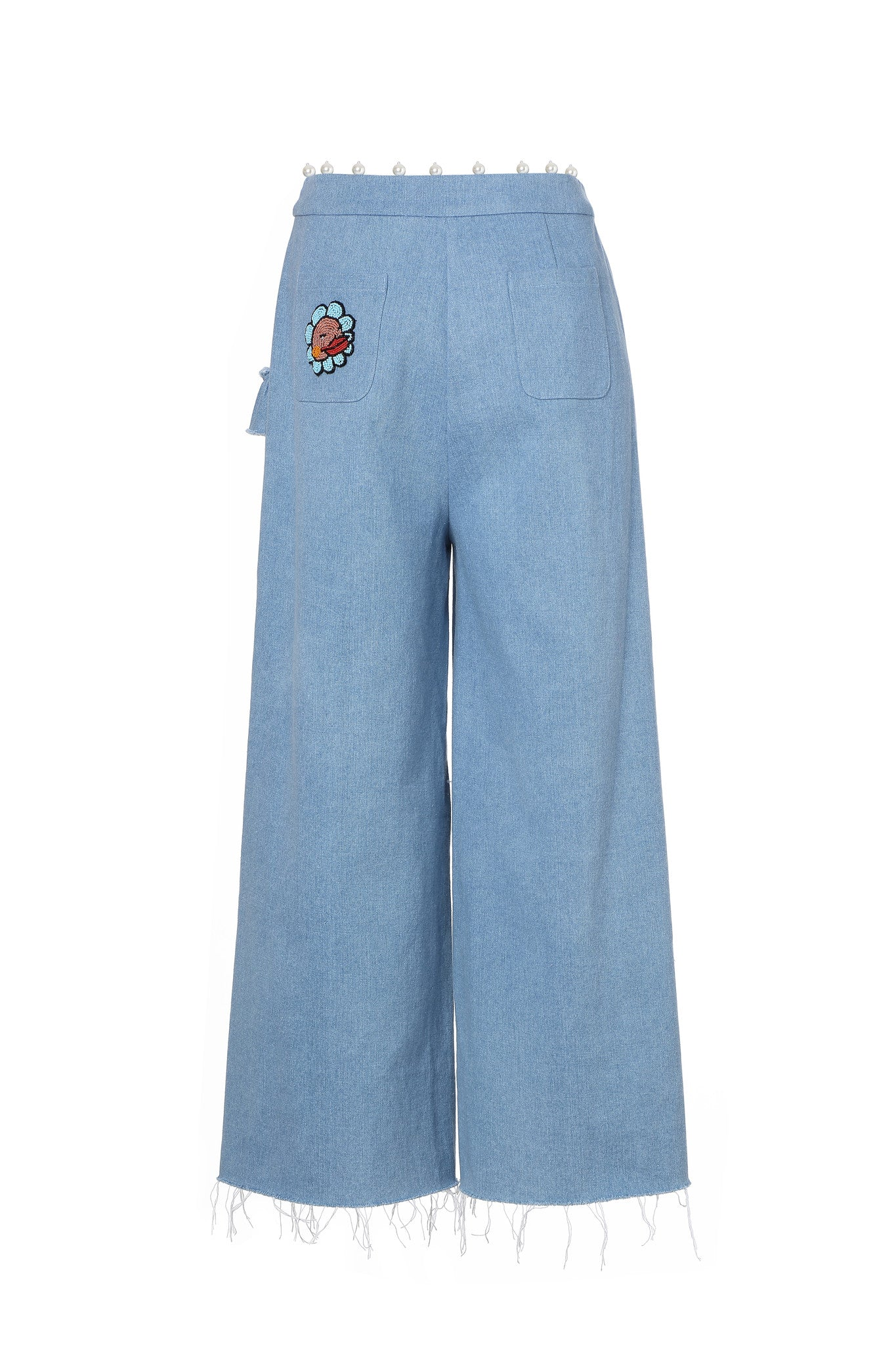 Denim Trousers Ruffles