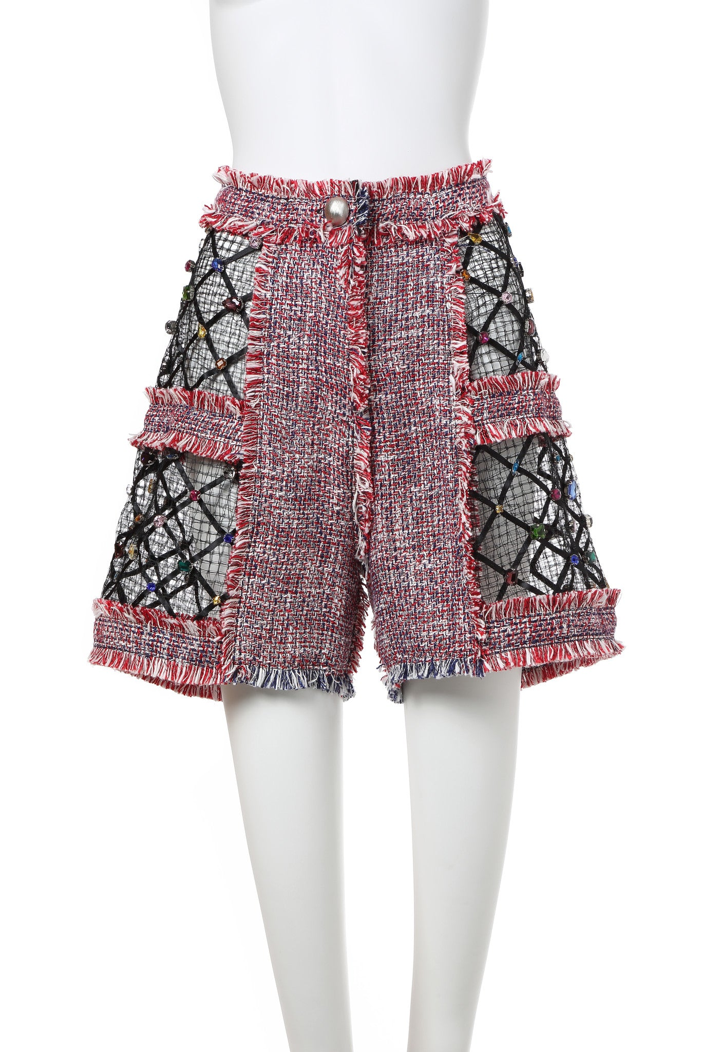 Red Tweed Shorts