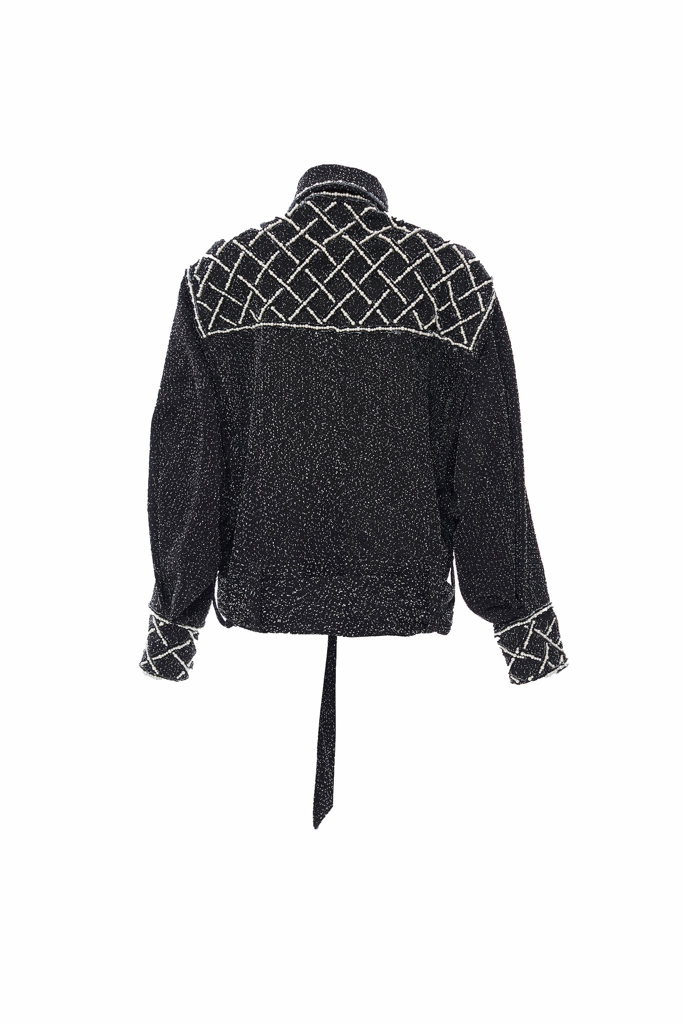 Black Oversized Pearl Gridded Beadings and Embroideries Denim Jacket