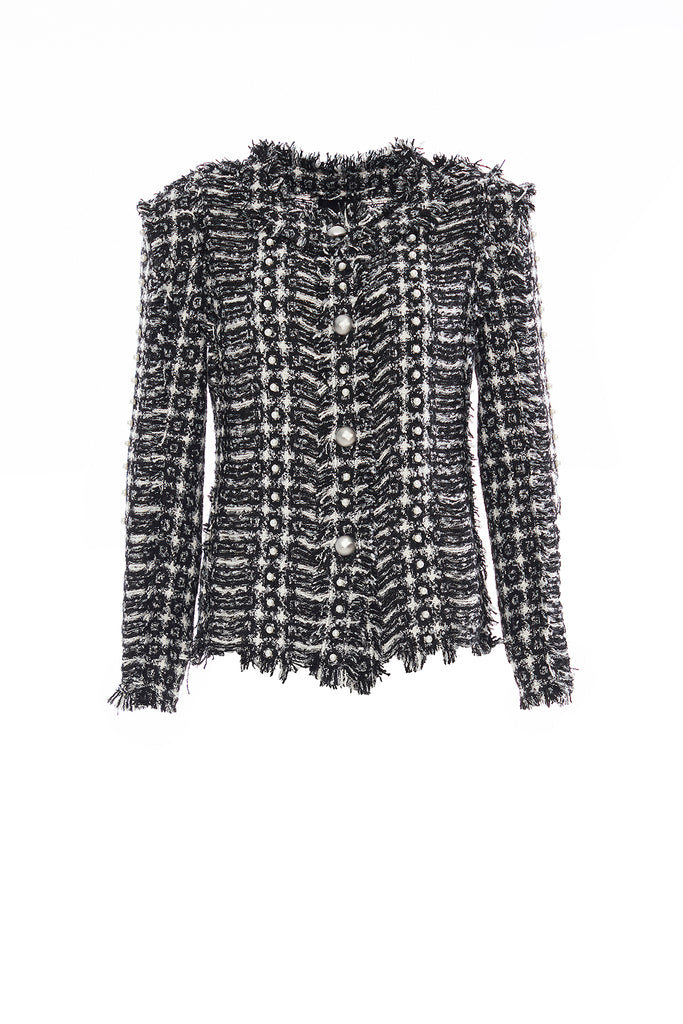 Black and White Handwoven Tweed Short Jacket