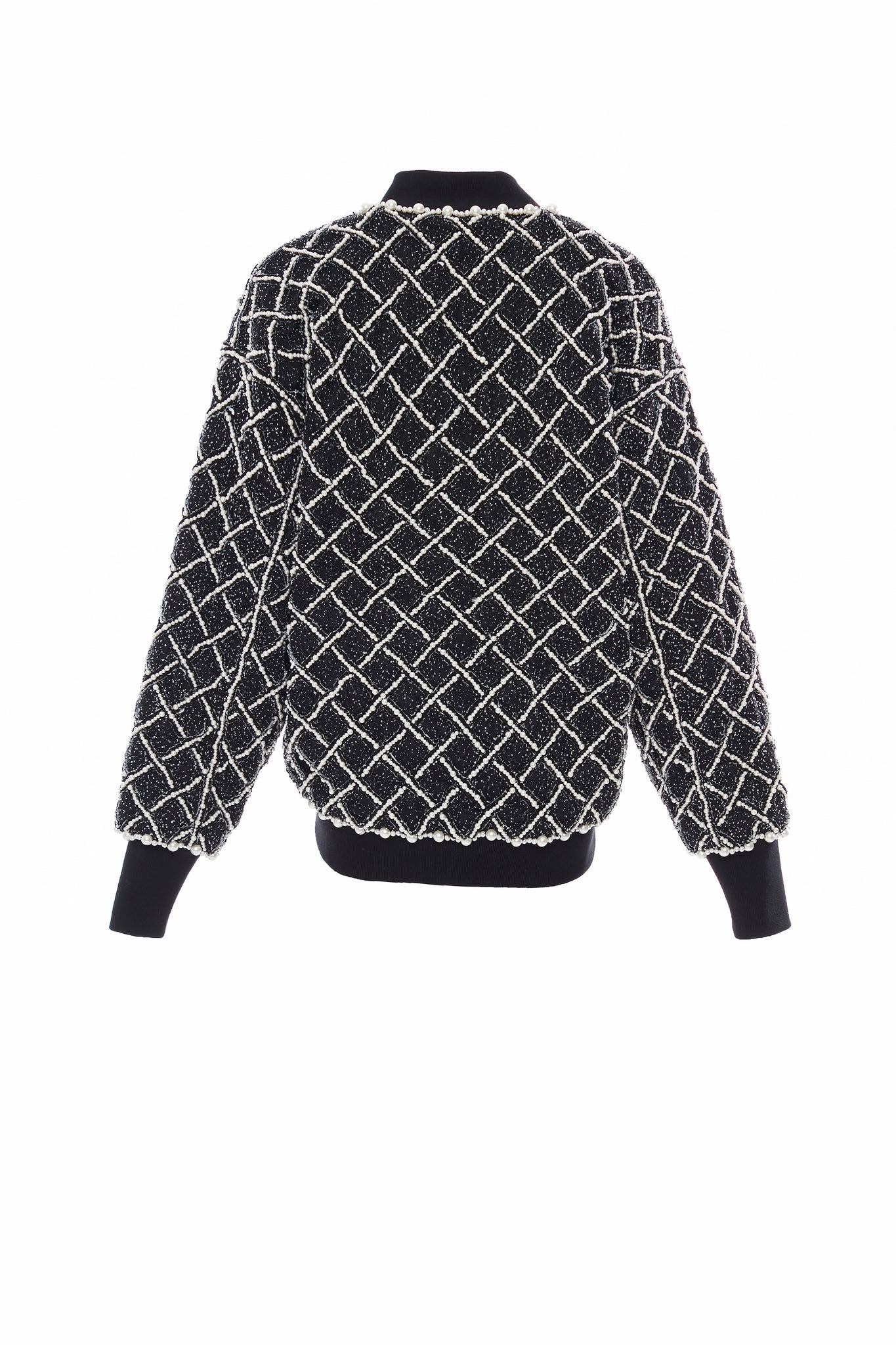Black Gridded Pearl Beadings Denim Bomber