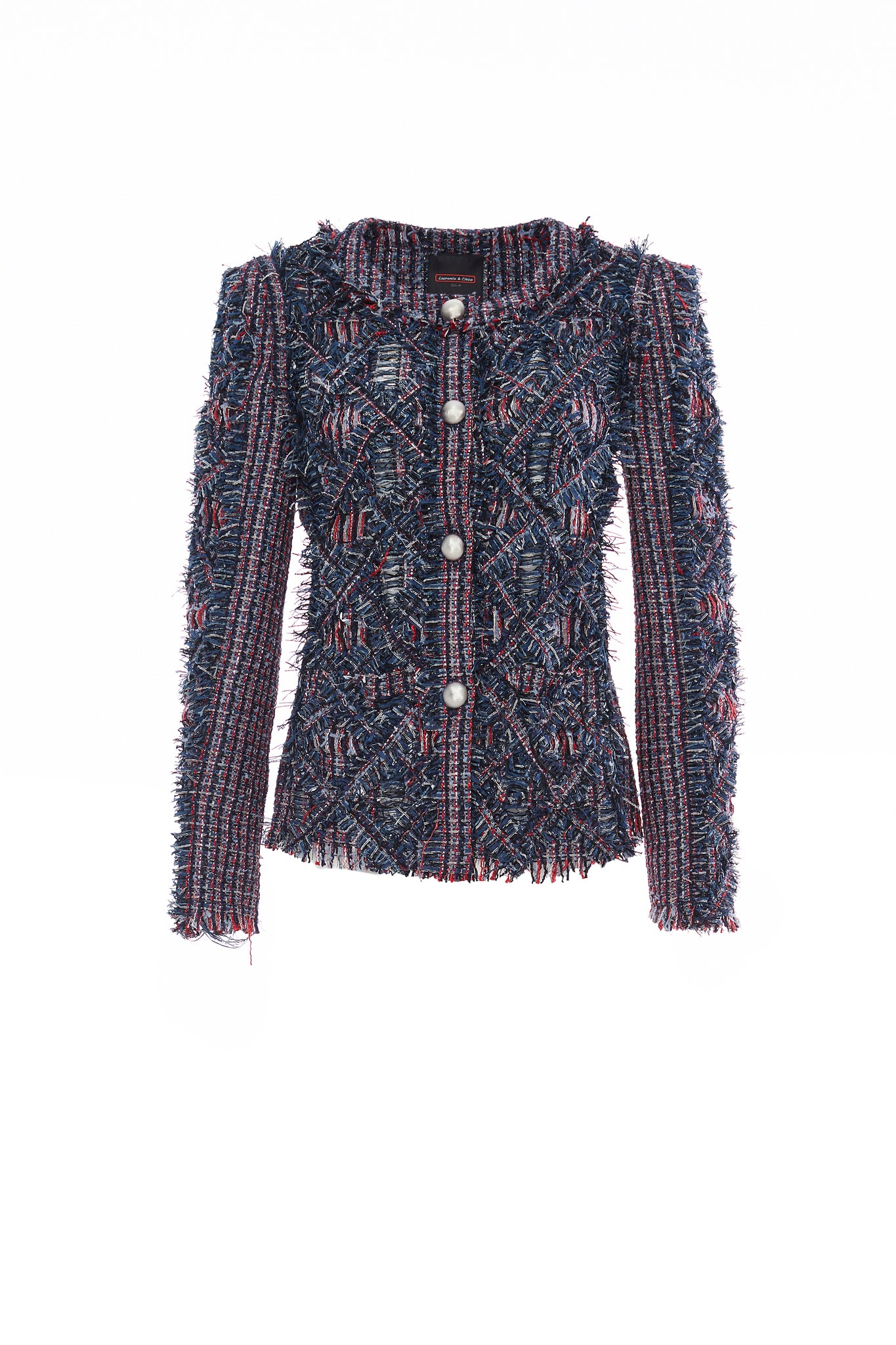 Red and Blue Handwoven Tweed Short Jacket