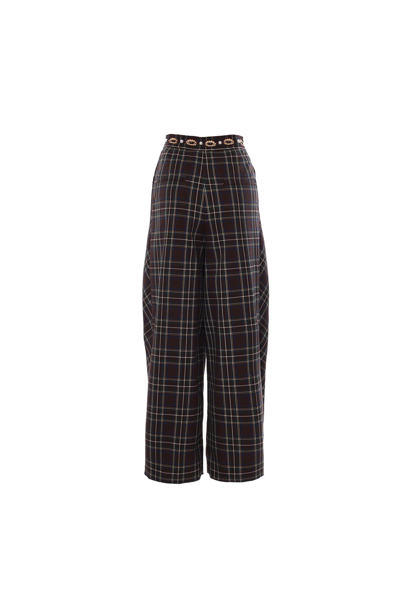 Brown Checkered Pleated Trousers