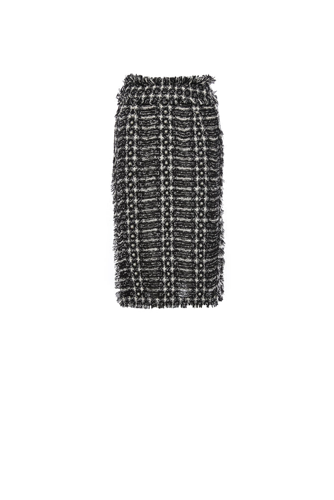 Black and White Handwoven Tweed Skirt