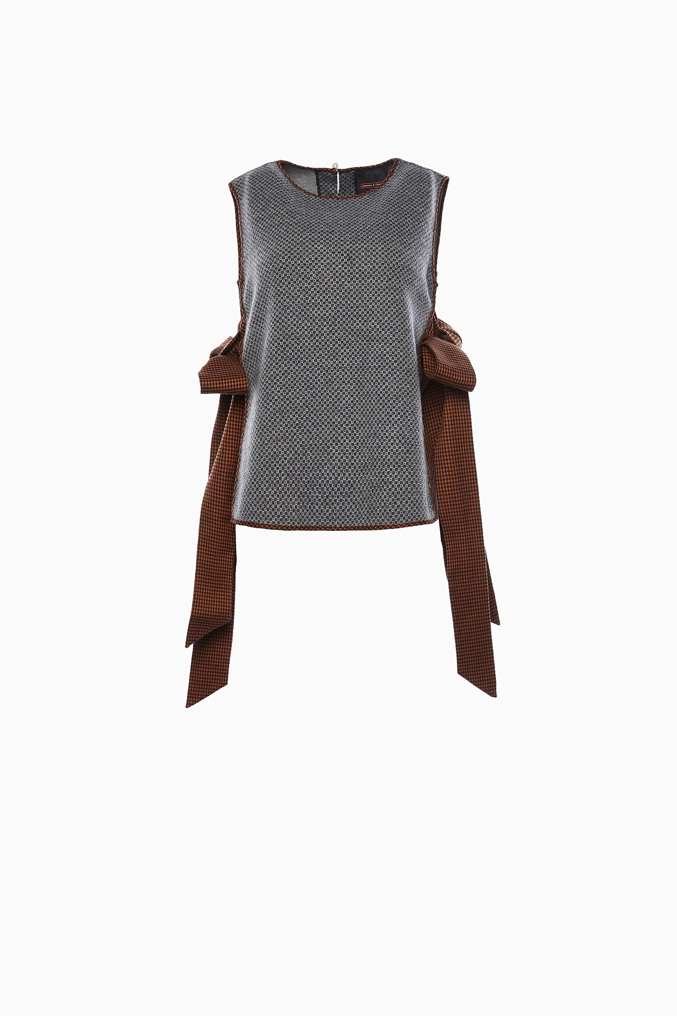 Grey Wool Tank with Bow Ties at Sides