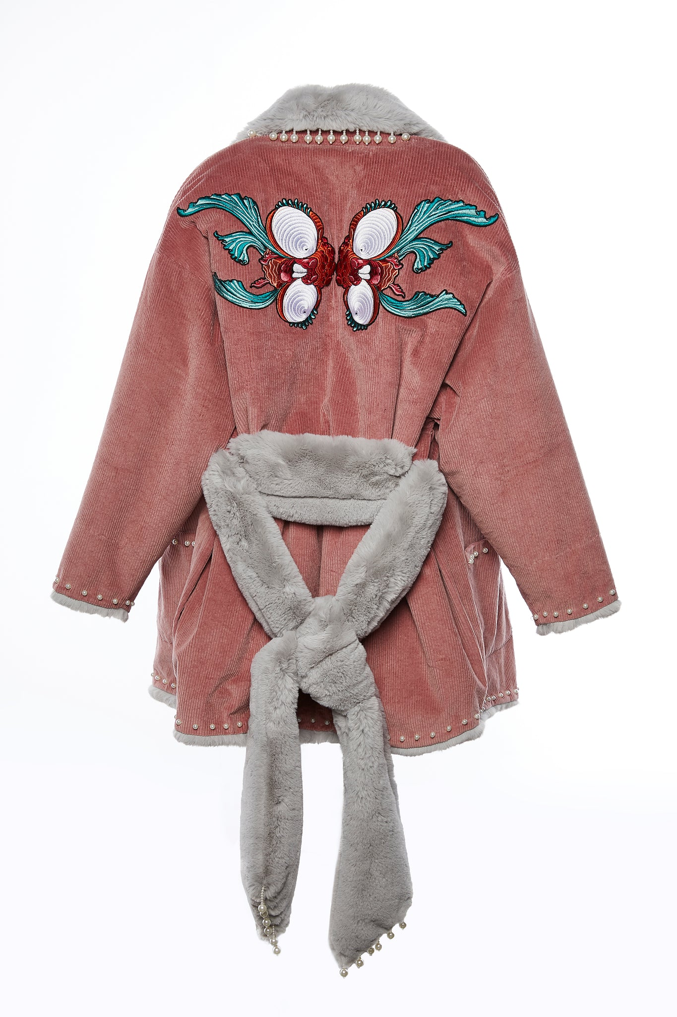 Pink Reversible Coat with Grey Faux Fur