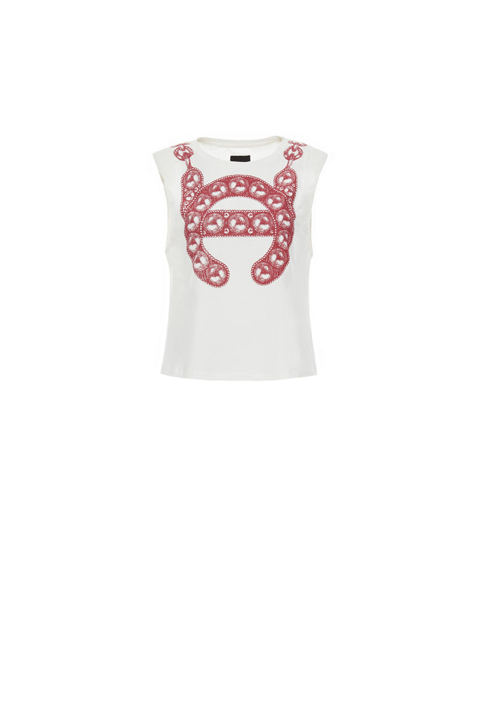 LC Logo Sleeveless Tee with Shoulder Pads, Red
