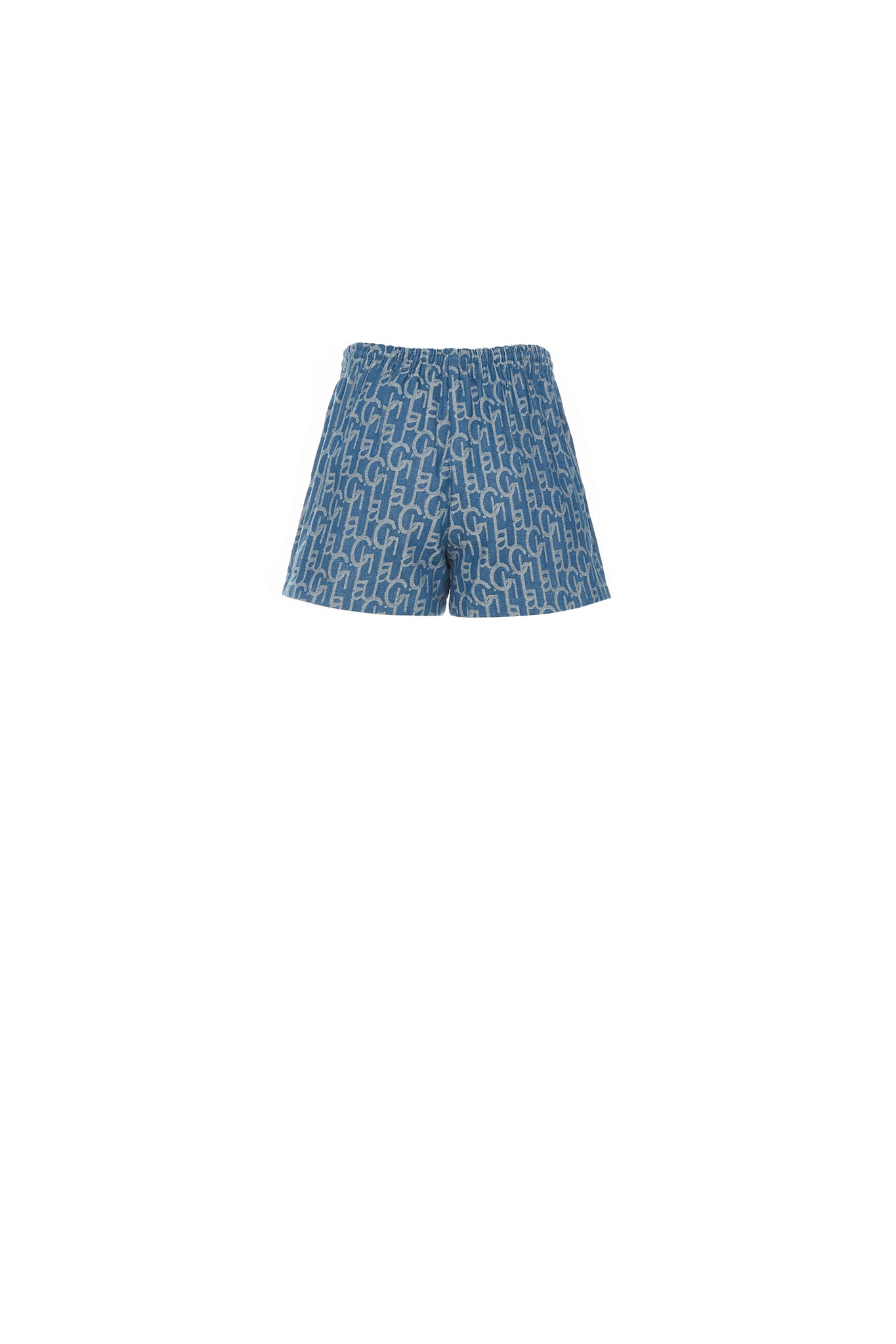 Laulau Chichi Denim Jacquard Shorts, Light Blue