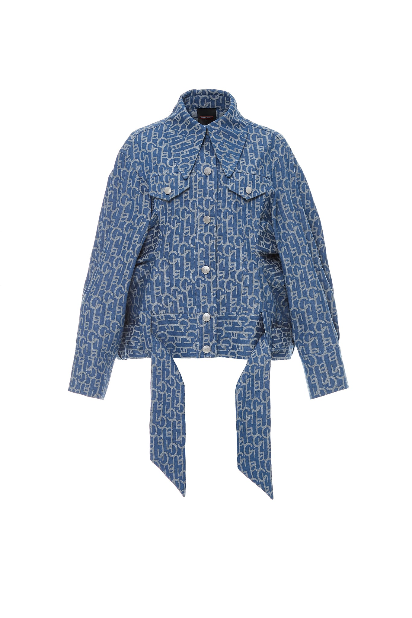 Laulau Chichi Denim Jacquard Oversized Jacket with Beading in Back, Light Blue