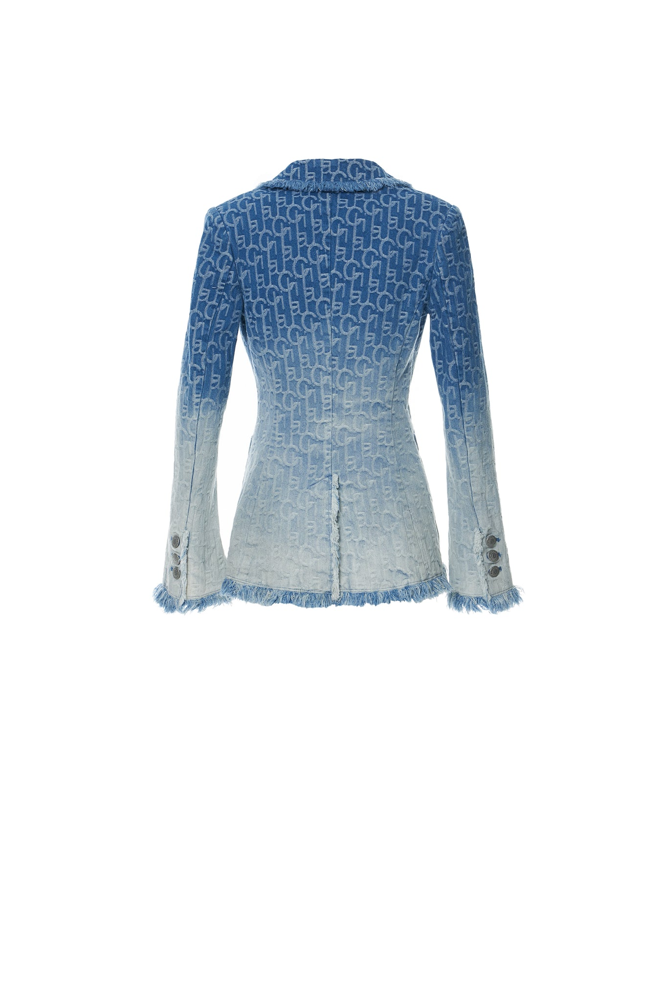 Laulau Chichi Ombre Denim Jacquard Tailored Blazer,Light Blue