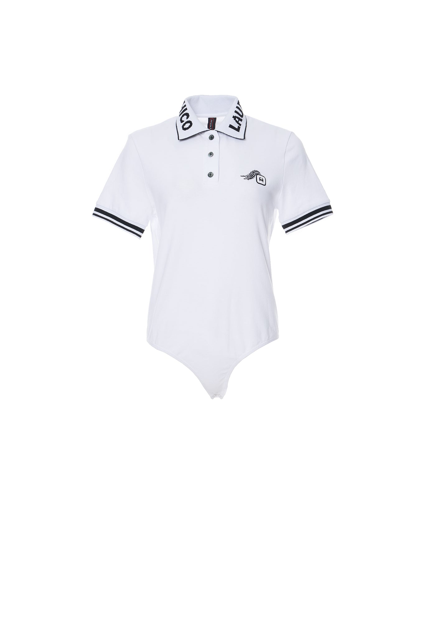 Caterpillar Embroidery Polo Bodysuit, White