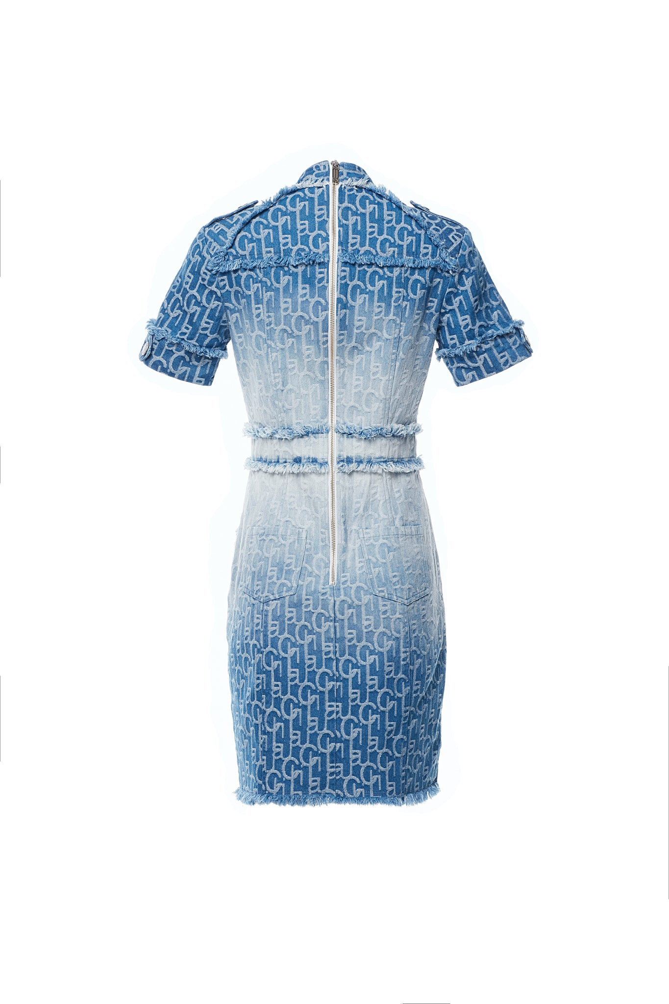 LauLau ChiChi Ombre Denim Jacquard Short Sleeves V Neck Tailored Dress