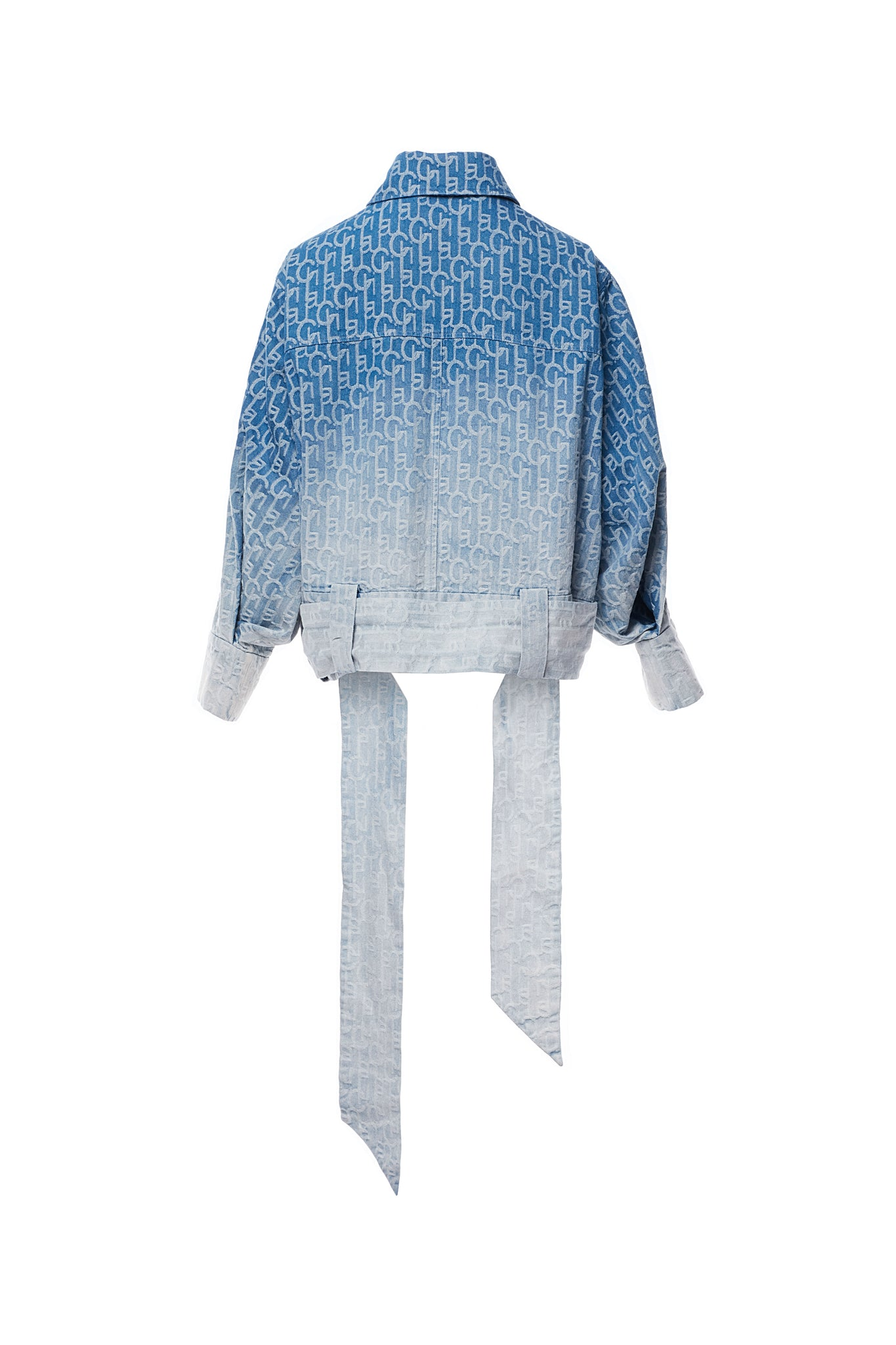 Laulau Chichi Ombre Denim Jacquard Oversized Jacket with Beading in Back, Light Blue