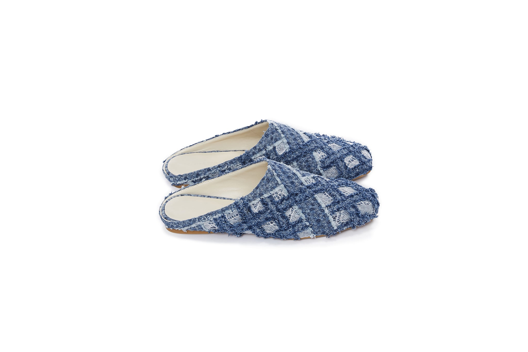 Handwoven Denim Lace Sandals, Light Blue
