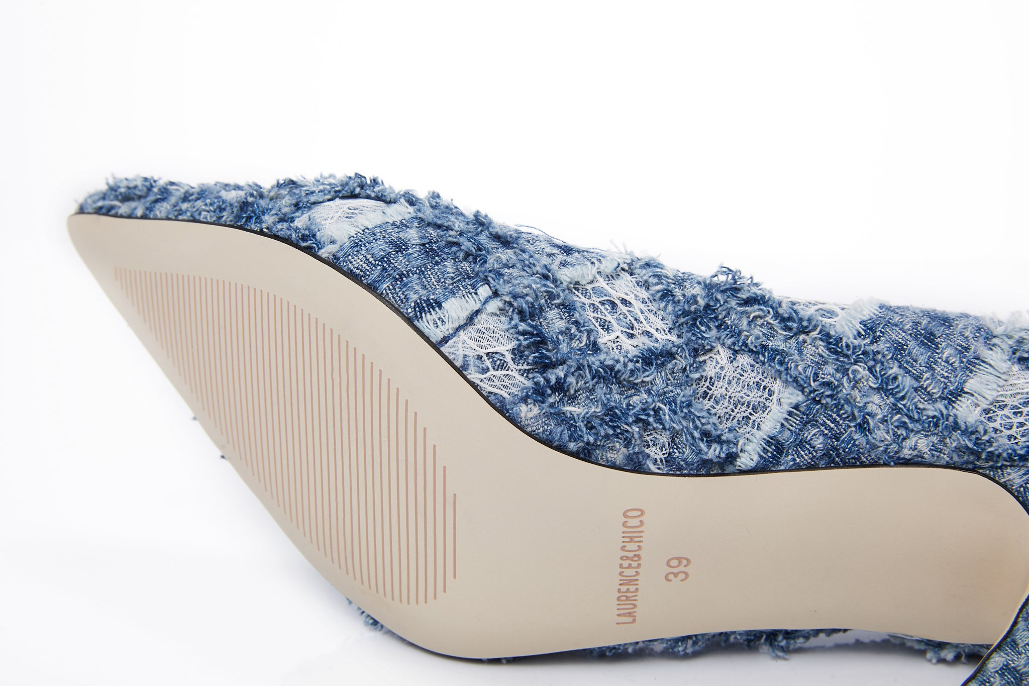 Handwoven Denim Lace Heels, Light Blue