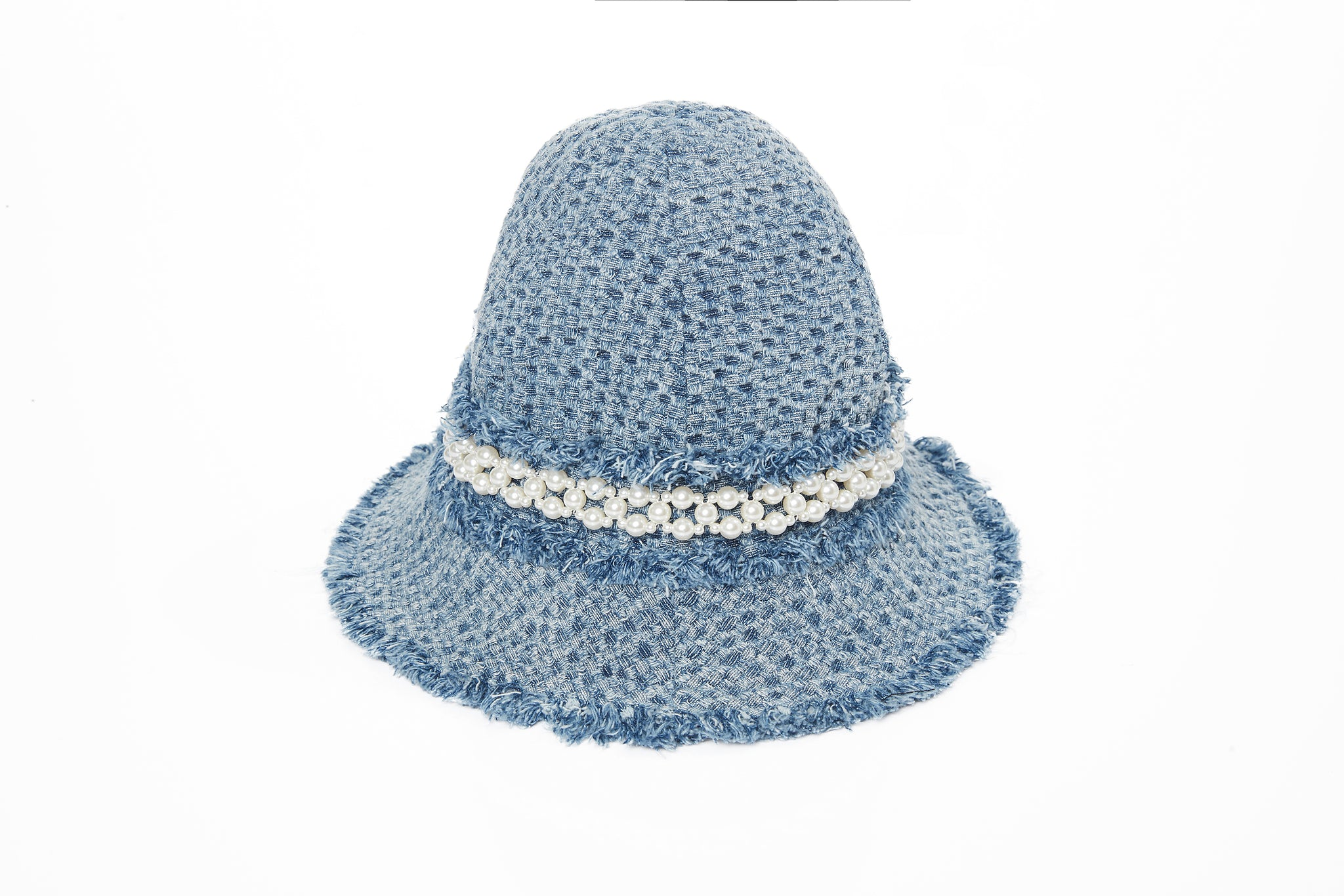 Frayed Denim Bucket Hat with Pearl Embellishment, Light Blue