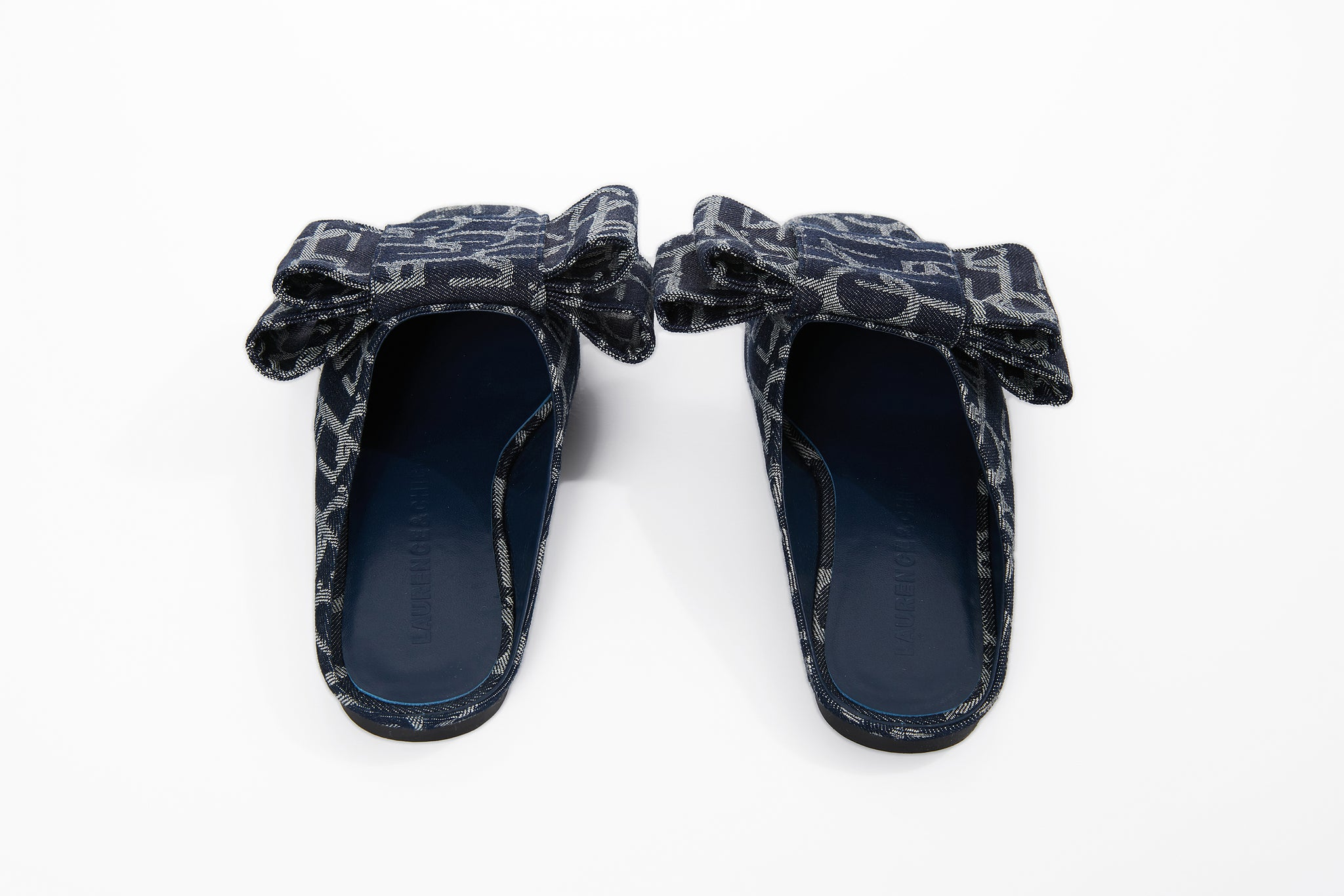Bowtie Laulau Chichi Slippers, Dark Blue