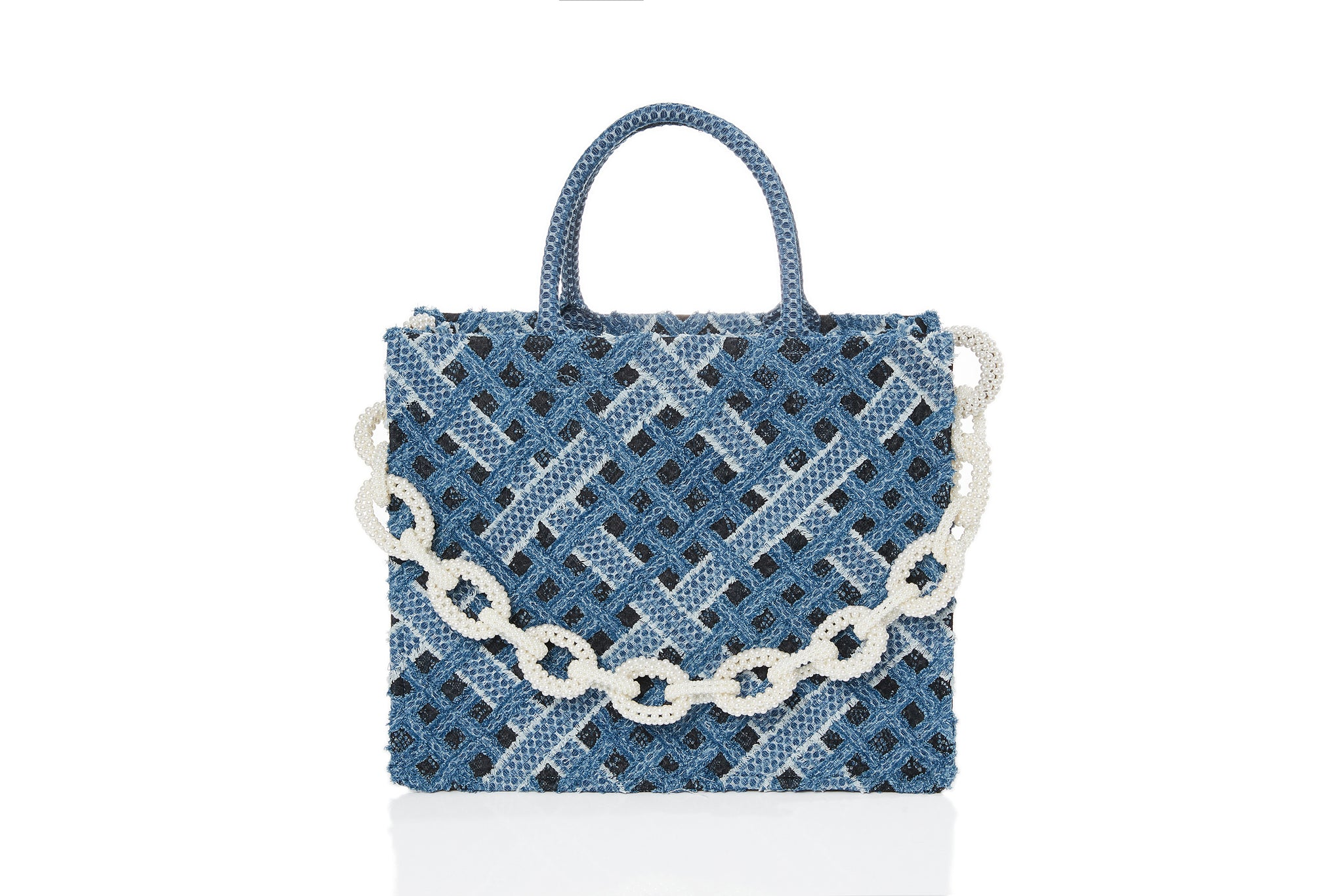 Handwoven Denim on Lace Bag, Large Tote, Pearl Chain, Dark Blue