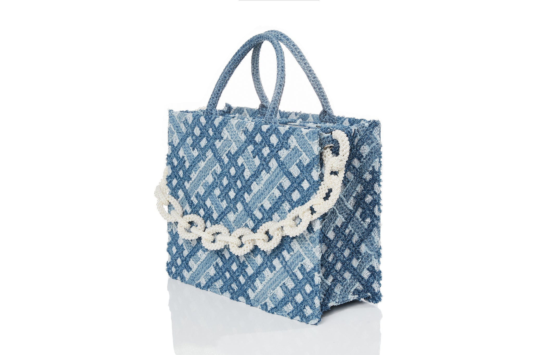 Handwoven Denim on Lace Bag, Large Tote, Pearl Chain, Light Blue