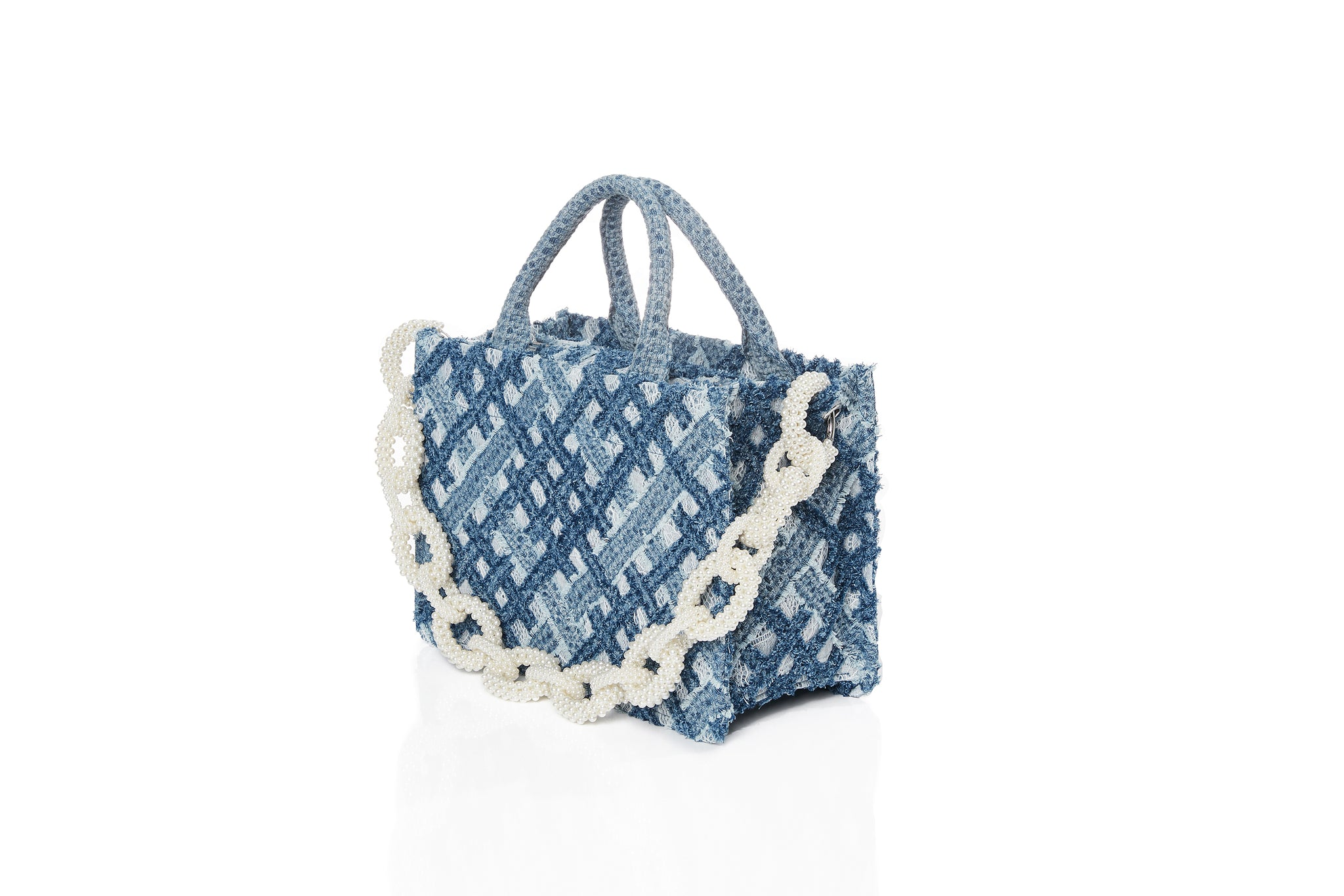 Handwoven Denim on Lace Bag, Small Tote, Pearl Chain, Light Blue