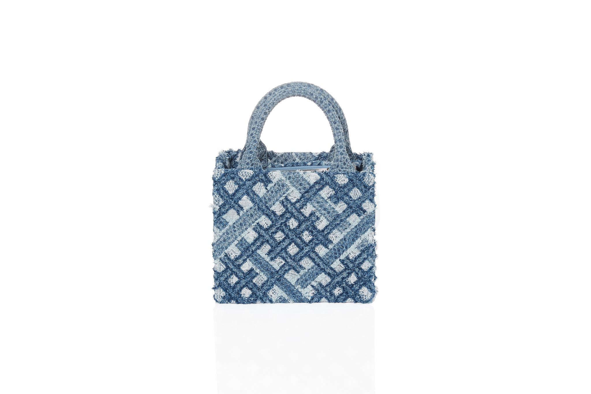 Handwoven Denim on Lace Bag, Small Square Tote, Pearl Chain, Light Blue