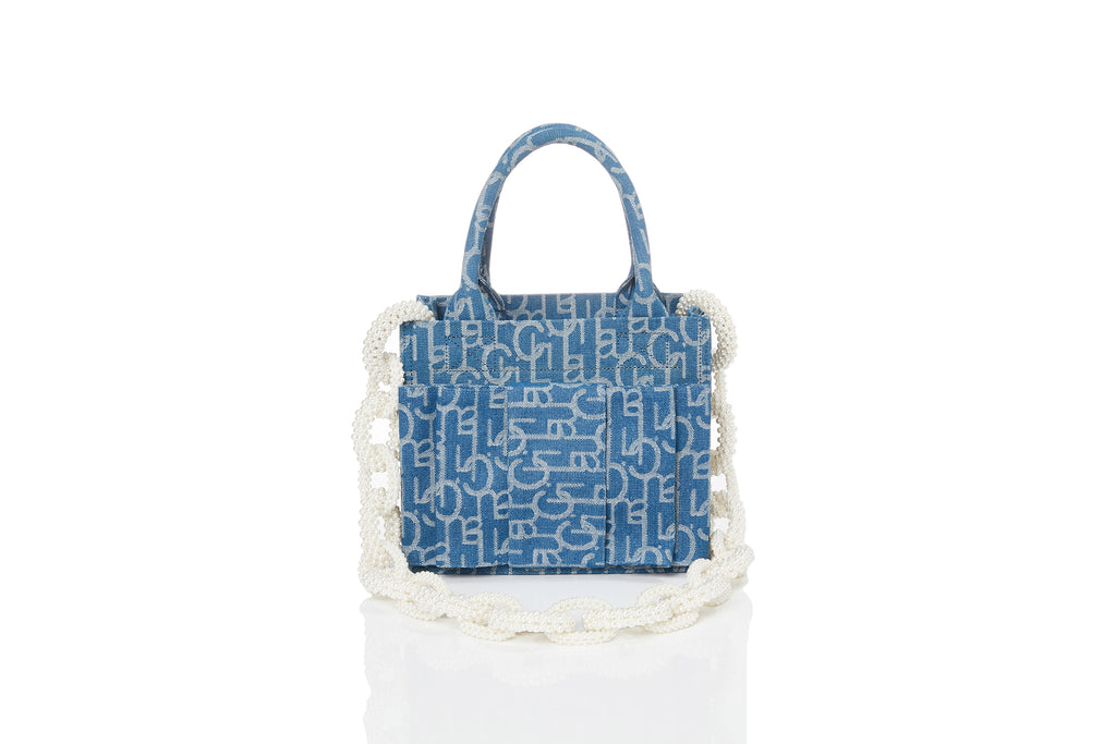 Bowtie Laulau Chichi Jacquard Bag, Small Square Tote, Pearl Chain, Light Blue